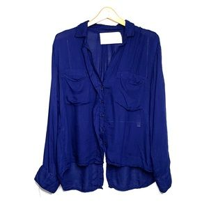 BELLA DAHL • Navy Button Up Long Sleeve Rayon Top